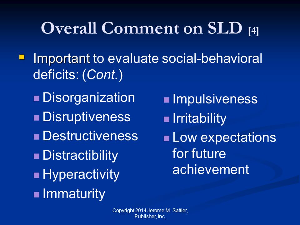 Overall Comment on SLD [4]